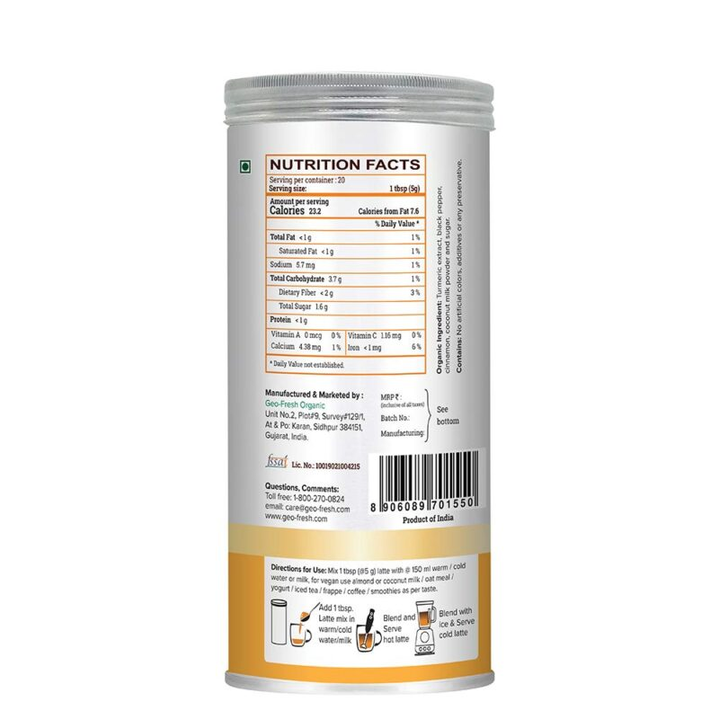 Turmeric Latte Mix - 100G with Cinnamon & Black Pepper 1